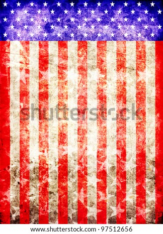 dirty american flag background - stock photo