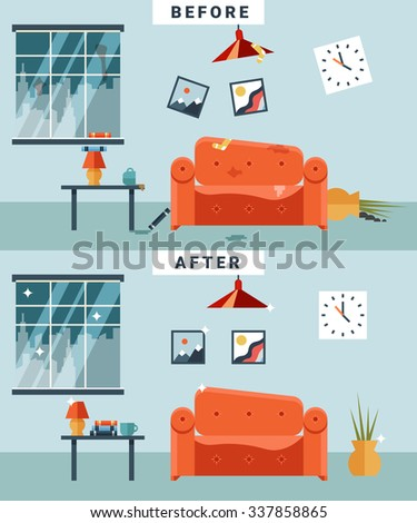 Dirty Clean Room Before After Cleaning Stock Illustration 337858865