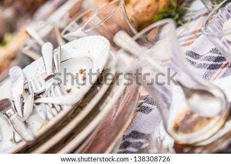 dirty and empty (breakfast) dishes - stock photo