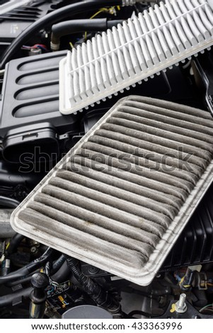 dirty and new air filter for car, automotive spare part