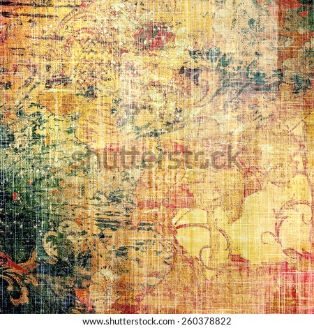 Dirty and weathered old textured background. With different color patterns: yellow (beige); brown; red (orange); green - stock photo