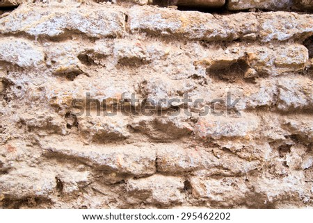 Dirty and weathered white brick wall background texture. grunge brick wall. - stock photo