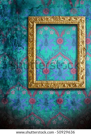 dirty blue wallpaper and an empty frame - stock photo