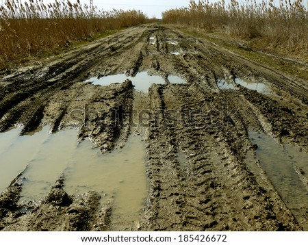 dirty broken rural road with deep tire tracks
