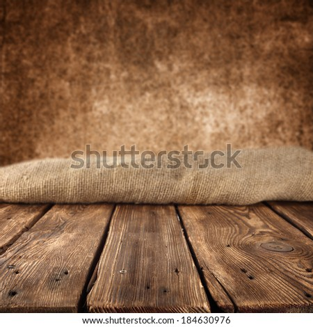 dirty brown color and empty table  - stock photo