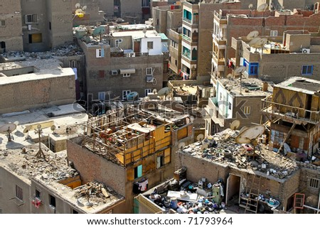 Dirty buildings and garbage all around in Cairo
