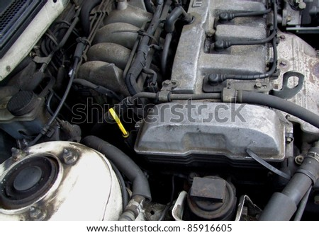 Dirty Car Engine Detail - stock photo