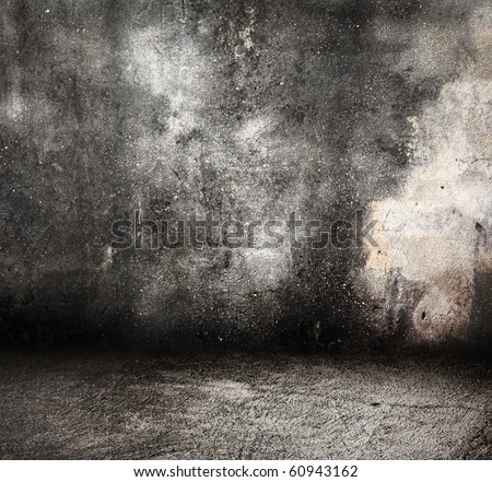 dirty cement wall and floor in old grunge room - stock photo