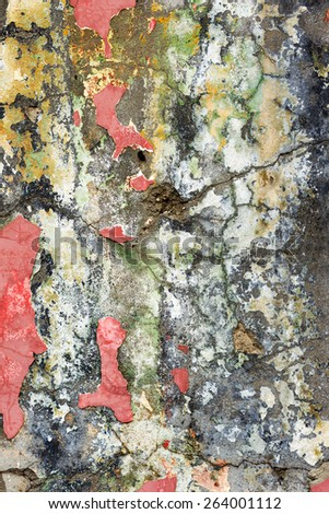Dirty concrete wall with streaks of water, stains, cracks and scratches. Grungy concrete surface. Great background or texture for your project. - stock photo