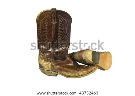 dirty cowboy boots - stock photo