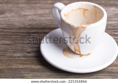 Dirty cup after drinking coffee - stock photo