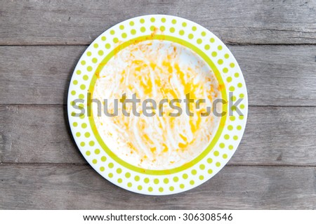 dirty dish on wood table - stock photo