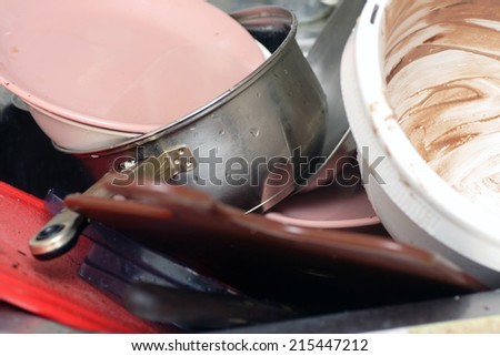 Dirty dishes. Unwashed dishes. - stock photo