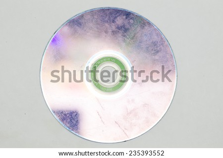 dirty DVD discs on a white background - stock photo
