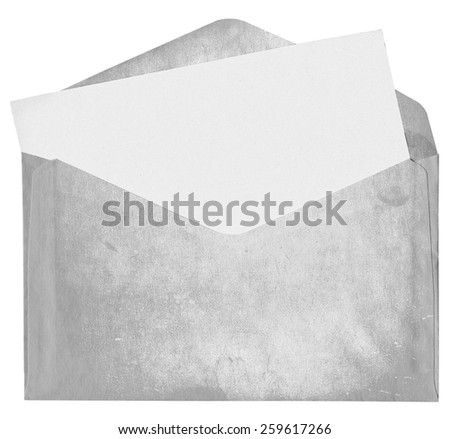 Dirty envelope with blank card isolated on white background - stock photo