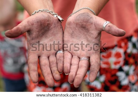 dirty female hands