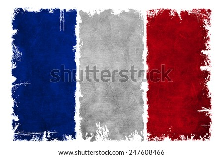 Dirty flag of France - stock photo
