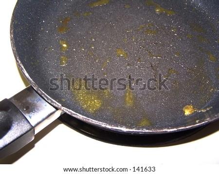 dirty frying pan - stock photo