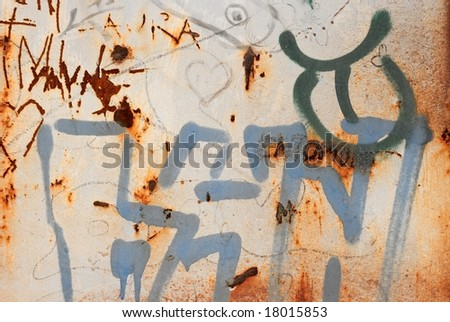 Dirty, grungy wall with words written all over