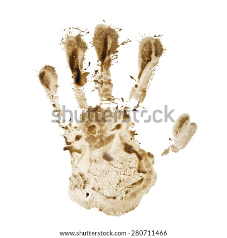 dirty hand print isolated on a white background - stock photo
