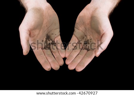 Dirty hands (color image) isolated on a black background