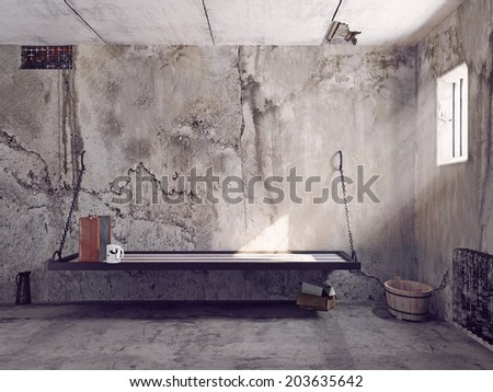 dirty jail cell interior. 3d concept - stock photo