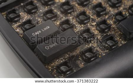 dirty keyboard - stock photo