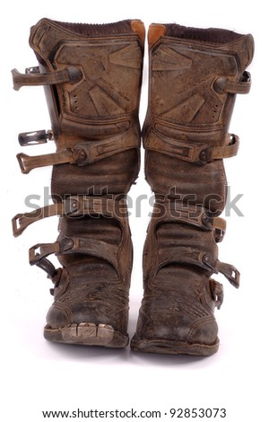 Dirty Motocross boots - stock photo
