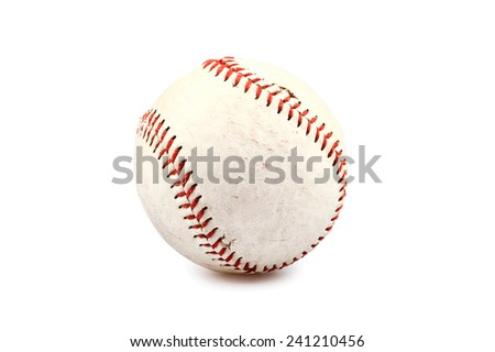Dirty old Baseball Isolated on white - stock photo