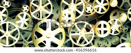 Dirty old gear wheels industrial background banner - stock photo