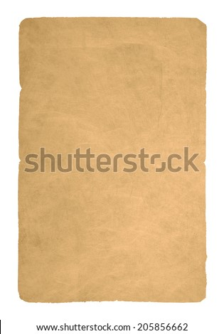 Dirty old scratched parchment with jagged edges isolated on white - stock photo