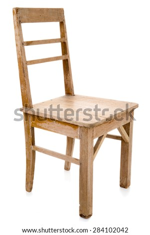 Superior Dirty Old Wooden Chair Isolated On White Background