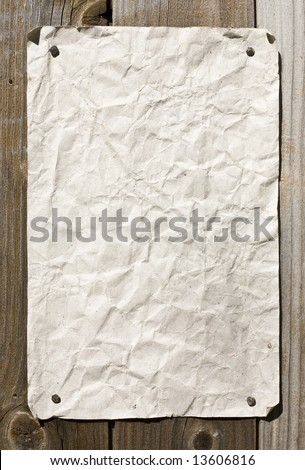 Dirty Paper On Wooden Wall. Ready For Your Message. - stock photo