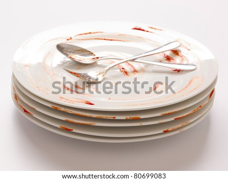 dirty plates - stock photo