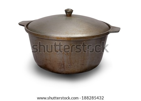 Dirty pot isolated on white background, clipping path.
