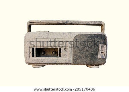 Dirty radio isolated on white background.Used Film filter. - stock photo