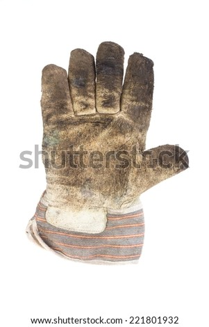Dirty right hand working glove palm on white background - stock photo