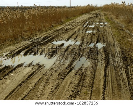 dirty rural road with deep tire tracks - stock photo