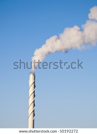 Dirty smoke from a high chimney