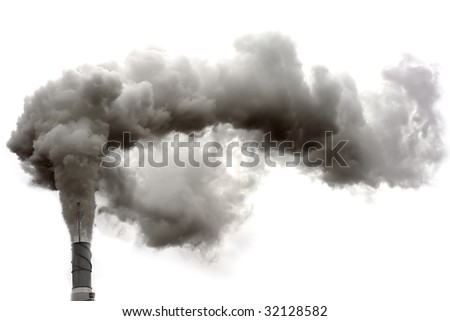 Dirty smoke on the white background, ecology problems - stock photo
