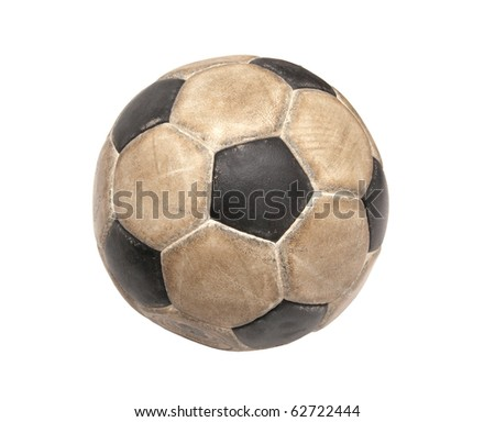 Dirty soccer ball on white background - stock photo