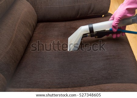 Dirty Sofa Chemical Cleaning With Professionally Extraction Method.  Upholstered Furniture. Early Spring Cleaning Or