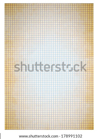 dirty squared paper isolated on white background - stock photo