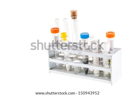 dirty test tubes in a rack isolated over a white background - stock photo
