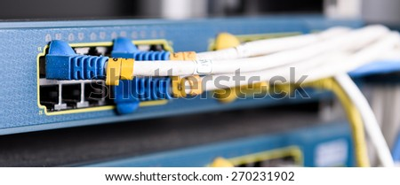 Dirty UTP Cat5e Cable on Network switch close up