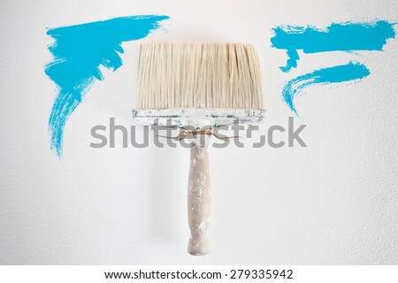 Dirty wall brush Painting with cyan paint - stock photo