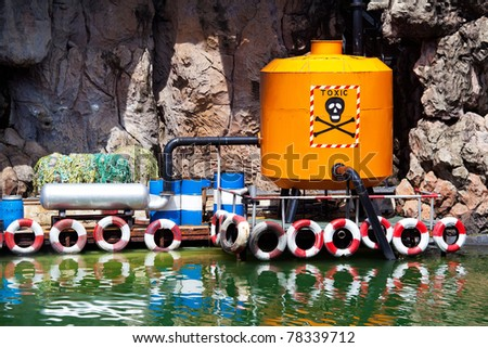 Dirty water from a pipe. Toxic production wastes - stock photo