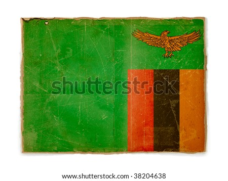 dirty weathered flag of Zambia, paper textured
