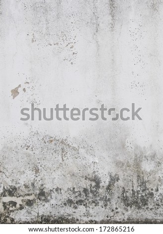 Dirty White Weathered Wall Background with paint flaking off - stock photo
