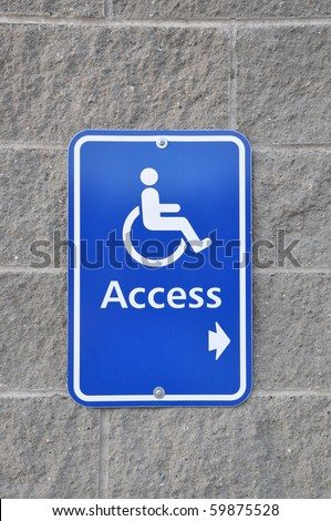 Disable access sign on wall - stock photo